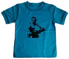 Johnny Cash Kids T-shirt Blue - Tee eco vintage – organic cotton