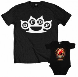 Duo Rockset Five Finger Death Punch Father's T-shirt & Five Finger Death Punch Onesie Baby