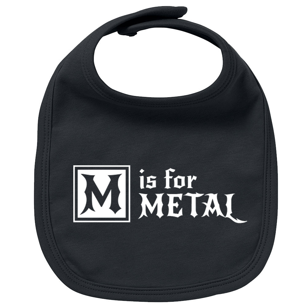 Metal baby bib M is for Metal