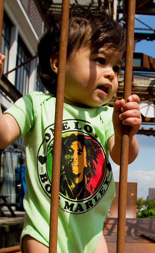 Bob Marley Baby Onesie One Love Lime photoshoot
