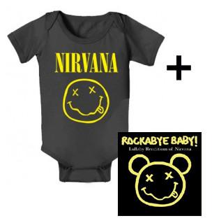 Giftset Nirvana Onesie Baby Smiley & Nirvana Rockabyebaby CD