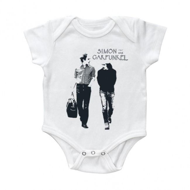 Simon and Garfunkel Onesie Baby Creeper Walking White