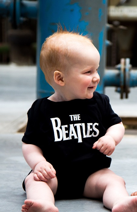 The Beatles Onesie Baby Creeper  Eternal Black photoshoot